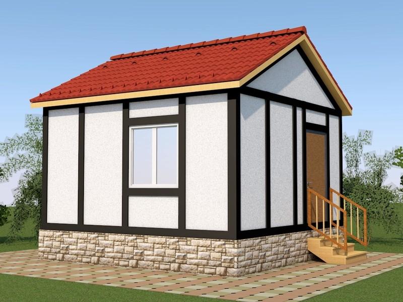 Жилой дом 4,88х4,88 м для круглогодичного проживания с фасадом в стиле ФАХВЕРК . Стоимость строительства с отделкой фасада 353700 руб